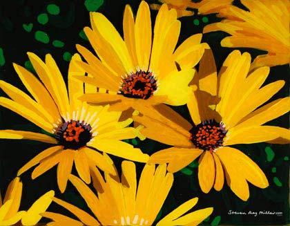 Black Eyed Susans 10x20 acrylic on canvas